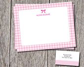 Fun Personalized thank you cards or stationery with matching envelopes. Love Gingham? You will love this! https://www.etsy.com/shop/DesignsByDanaV designsbydanav@gmail.com