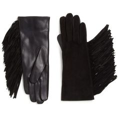Maison Fabre Fringed Suede & Leather Gloves ($260) ❤ liked on Polyvore featuring accessories, gloves, apparel & accessories, black, maison fabre gloves, black suede gloves, maison fabre, suede gloves and suede leather gloves