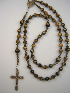 "Rosary Men's Catholic Genuine Tiger Eye Gemstone Bronze 23+"" Masculino Rosario  #UniqueOneofaKind"