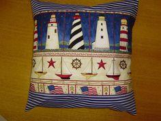 Housse de coussin décoration marine phare voilier de Bamboudchou sur DaWanda.com