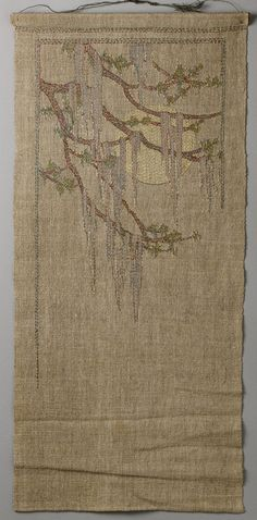 Embroidered wall hanging, Design attributed to Anna Frances Simpson (American, Newcomb College, New Orleans, Louisiana Silk on linen [arts & crafts] Embroidery Art, Embroidery Designs, Art Nouveau, Art And Craft Design, Textiles, Craftsman Style, Craftsman Decor, Craftsman Cottage, Arts And Crafts Movement