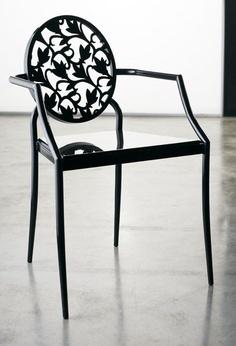 Black laser cut metal chair