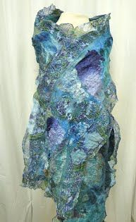 Blue and Aqua Nuno Felted Scarf Highly Texture