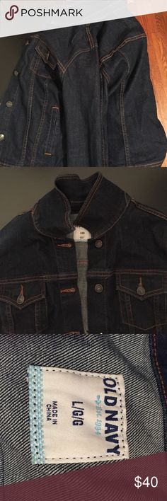 Dark Jean jacket Dark Jean jacket with collar that could be folded up or down Old Navy Jackets & Coats Jean Jackets