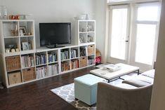 4 ikea kallax shelves turned into media storage