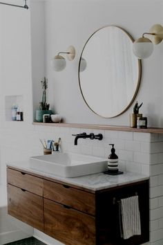 Copy Cat Chic Room Redo A modern wood and brass bathroom seen on SF Girl by Bay gets recreated for less by copycatchic luxe living for less budget home decor and design Bad Inspiration, Bathroom Inspiration, Interior Inspiration, Bathroom Inspo, Travel Inspiration, Bathroom Renos, Bathroom Interior, Bathroom Modern, Minimal Bathroom