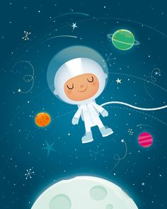 Nursery art boy, childrens nursery, childrens art, Space nursery, Astronaut…