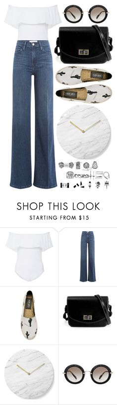 """""""High-Waisted + Cold-Shouldered"""" by cherieaustin ❤ liked on Polyvore featuring Karla Colletto, Frame Denim, Kenzo, Menu, Miu Miu, kenzo, miumiu, framedenim, newchic and karlacolletto"""