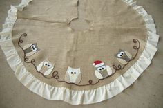 owl applique tree skirt, christmas decorations, crafts, seasonal holiday d cor, Santa Owl Christmas Sewing, Christmas Projects, Holiday Crafts, Owl Christmas Tree, Winter Christmas, Christmas Skirt, Xmas Tree Skirts, Owl Applique, Owl Crafts