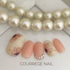 ベージュのフラワーネイル|ネイルデザインを探すならネイル数No.1のネイルブック Japanese Nail Design, Japanese Nails, Pink Nails, Glitter Nails, Art Nails, Nail Nail, Beauty Nails, Nail Colors, Nail Art Designs