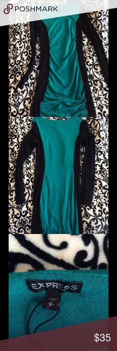 Express sweater dress Light weight green and black long sleeve sweater dress. Express Dresses Long Sleeve