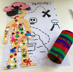Pirate craft. We made a pirate after reading Pirates Love Underpants! We used toilet roll tubes to make a telescope and drew a treasure map, the children found all the sequins in the treasure chest to stick to their pirates.