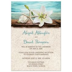 Reception Only Invitations - Beach Lily Seashells and Sand