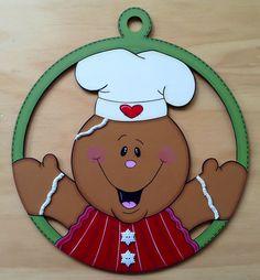 Esfera Galleta de Jengibre Christmas Bells, Xmas Ornaments, Christmas Crafts, Gingerbread Decorations, Outdoor Christmas Decorations, Country Paintings, Christmas Paintings, Craft Stick Crafts, Christmas Pictures