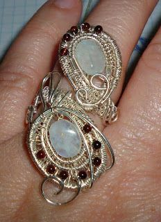 Sterling Silver Ring with Acquamarine and Garnets