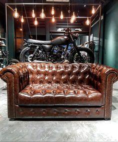 "Singapore | Funny Museum on Instagram: ""Mutt motocycle showroom! . . #chesterfieldsofa  by #funnymuseumbydanielwang   #joochiat #singaporetatler # #sgbikes  #motocycle…"" Football Rooms, Chesterfield Sofa, Showroom, Singapore, Museum, Couch, Funny, Furniture, Instagram"