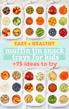 Muffin Tin Snack Trays For Kids - Easy, fun kids' snack trays made in muffin pans to keep things simple + Lots of muffin tin snack tray ideas to try! (Gluten-free, vegan + paleo options!) // Healthy Snacks for Kids // Kids Snack Tray // Muffin Snack Tray // After school snack ideas #snack #healthysnack #muffintinsnacktray #snacktray #kidssnacks Paleo Recipes Easy, Whole 30 Recipes, Clean Eating Recipes, Snack Recipes, Snack Trays, Muffin Pans, Whole 30 Breakfast, Healthy Muffins, Healthy Snacks For Kids