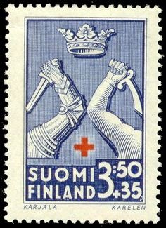Postage stamp depicting the coat-of-arms symbols of the Karelia province of Finland