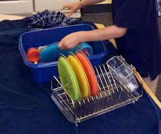 Could wash dishes like this Awesome idea - washing dishes center. I love the drying rack added in. Vocational Activities, Vocational Tasks, Montessori Activities, Toddler Activities, Life Skills Classroom, Life Skills Activities, Activities Of Daily Living, Dramatic Play Area, Dramatic Play Centers