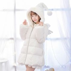 Mori Girl Clothing Down Coat on Mori Girl の森ガール.Mori Angelic Witches Hood Down Coat Sweet Plush Overcoat get yourself ready to look cute and keep out the cold on wearing it in the autumn or winter.