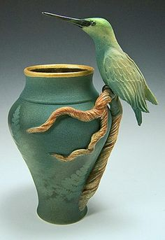 Hummingbird Branch Vase by Bonnie Belt Pottery Vase, Ceramic Pottery, Slab Pottery, Thrown Pottery, Ceramic Bowls, Ceramic Mugs, Pottery Wheel, Vintage Pottery, Handmade Pottery