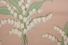 1950's Vintage Wallpaper Lily of the Valley on Pink