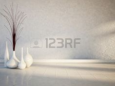 many white vases on the white floor Stock Photo