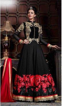 Black Color Georgette Designer Anarkali Lehenga Kameez | FH492875602 #heenastyle , #boutique , #pakistani, #salwar , #kameez , #suit , #dresses , #styles , #fashion , #clothing , #henna , #designs , #mehndi , #more , @heenastyle