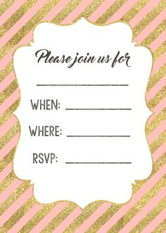 pink and gold invitations free printable baby pinterest