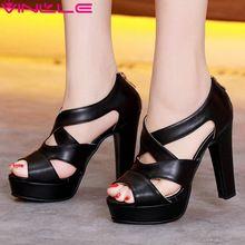 Vinlle 2017 mujer bombas sexy gladiador peep toe blanco de verano Zapatos de las mujeres Gruesas de Tacón Alto Cremallera de la Boda/Zapatos de fiesta de Tamaño 34-43(China (Mainland))