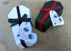 PERSONALIZED Gothic Wedding Coffin Favor Box with tags- set of 10. $25.50, via Etsy.