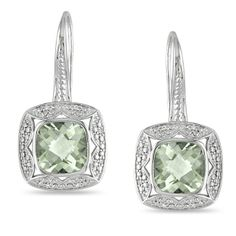 These charm-style earrings feature cushion-cut green amethyst gemstones and round-cut white diamonds set in sterling silver. These earrings secure with hook findings and shine with a highly polished finish.