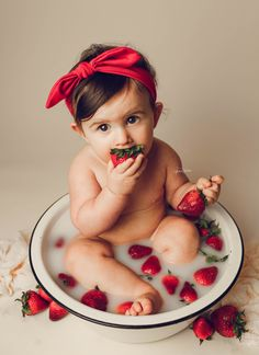 milk bath photography, milk bath photo ideas, milkbath, strawberry, strawberries, fruit milk bath, baby girl, 9 months old, nine month milestone session, studio pictures, baby photo ideas