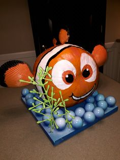 Nemo Pumpkin with Painted Florida shells, q-tip seaweed and pin pong ball bubbles!