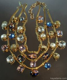 Elsa Schiaparelli Triple Strand Jeweled Necklace