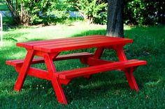 Our old wood picnic table is one picnic away from falling apart!  This plan is just like the one in our backyard.  DIY Furniture Plan from Ana-White.com  This standard picnic table is made unique in the easy to build instructions. Featuring ample seating and a sturdy top, paint yours a bold bright color to brighten up any outdoor (or indoor) space.