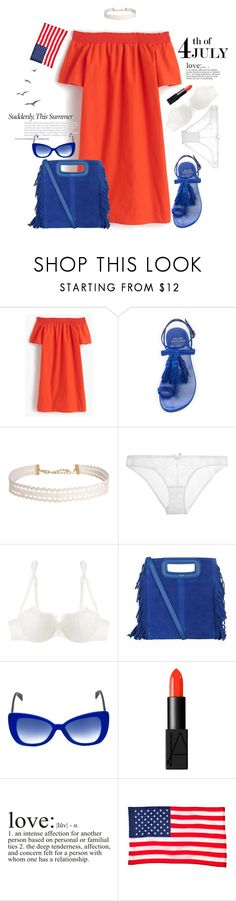 """""""Star Spangled Banner"""" by paperdollsq on Polyvore featuring J.Crew, Stuart Weitzman, Humble Chic, L'Agent By Agent Provocateur, La Perla, Maje, Italia Independent, NARS Cosmetics, Evergreen and redwhiteandblue"""