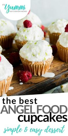 Angel Food Cupcakes are heavenly deliciousness in a portable form. Because cupcakes deserve to be a happiness-to-go easy dessert option … fluffy, delightful easy cupcake perfection. Easy Dinner Recipes, Easy Desserts, Delicious Desserts, Dessert Recipes, Yummy Food, Cupcake Recipes, Easy Recipes, Angel Food Cupcakes, Angel Food Cake