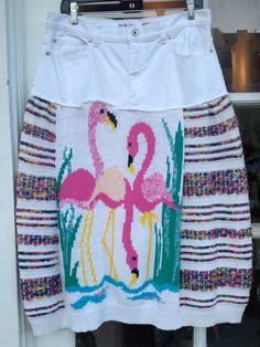 Upcycled OOAK Flamingo Skirt size 12 by adelightdesign on Etsy, $40.00