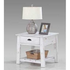 Distressed White End Table - Willow Collection