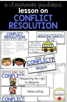 A classroom lesson on conflict resolution. Leads the discussion on how to resolve conflict at the elementary level. Elementary School Counselor, School Counseling, Group Counseling, Elementary Schools, Social Emotional Learning, Social Skills, Character Education, Physical Education, Teaching Character