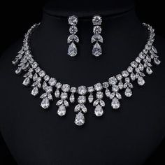 JaneKelly Luxury Sparking Brilliant Cubic Zircon Drop Earring Necklace Heavy Dinner Jewelry Sst Wedding Bridal Dress Accessories – Famous Last Words Pearl Bridal Jewelry Sets, Wedding Jewelry Sets, Wedding Accessories, Wedding Necklace Set, Hair Accessories, Hair Jewelry, Body Jewelry, Fine Jewelry, Crystal Necklace
