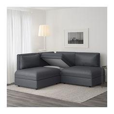 VALLENTUNA Divano angolare a 3 posti - Hillared grigio scuro - IKEA