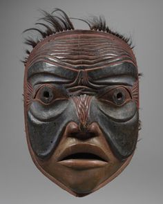 Mask, ca.  1860-80: Kwakiutl, Rivers Inlet, British Columbia; Fenimore Art Museum