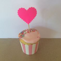 Fluoro Pink Love Heart Cupcake Toppers - Peppermint Sunday