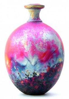 """Copper Fumed Raku   By Online Artist: Chris Hawkins - Sculptural """"Copper Matt Bottle"""" #art #raku♥≻★≺♥"""