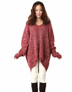 $38.99 cool Superbaby Women Loose Batwing Sleeve Pullover Sweater Plus XL