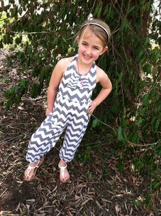Girls Gray and White Chevron Haltered Romper by BlueEyesAndBareFeet, $42.00