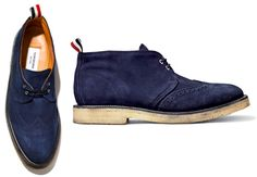 Blue suede chukkas from Thom Browne