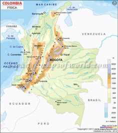 mapa-fisico-de-colombia Florida County Map, Broward County Florida, Strasbourg, Latitude And Longitude Map, Maps M, Fantasy World Map, Map Worksheets, Roubaix, Amiens